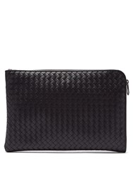 Bottega Veneta Intrecciato Leather Document Holder Black