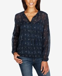 Lucky Brand Sheer Printed Peasant Blouse Blue Multi