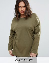 Asos Curve Ultimate Long Sleeved Tunic Oversized T Shirt Khaki Green
