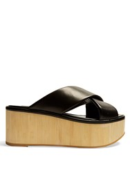 Robert Clergerie Cross Strap Leather Flatform Sandals Black