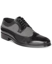 Tallia Men's Sergio Mixed Media Tweed Oxfords Men's Shoes Black White