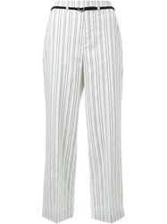 Loveless Double Pinstripe Straight Leg Cropped Trousers White