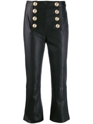 Balmain Flared Cropped Trousers Black