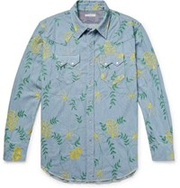 Engineered Garments Embroidered Cotton Chambray Western Shirt Light Blue