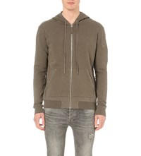 Allsaints Forde Cotton Jersey Hoody Washed Khaki G
