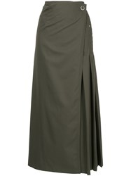 Des Pres Wrap Front Pleated Skirt Green