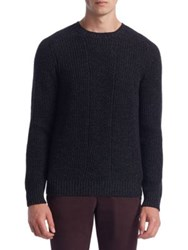 Saks Fifth Avenue Collection Cashmere Silk And Wool Crewneck Sweater Black Blue
