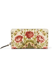 Gucci For Net A Porter Linea A Shanghai Floral Print Leather Wallet Neutral Antique Rose