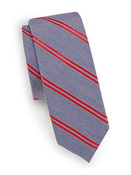 Saks Fifth Avenue Striped Silk And Cotton Tie Blue Red