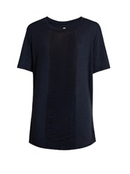 Raquel Allegra Shredded Front Cotton Blend T Shirt Navy