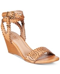Xoxo Sissy Lasercut Demi Wedge Sandals Women's Shoes Cognac