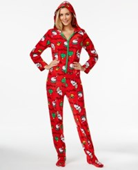Hello Kitty Ugly Christmas Holiday Hooded Footed Pajamas Red