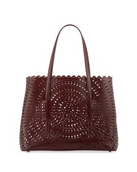 Alaia Small Vienne Laser Cut Leather Tote Bag Burgundy