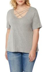 Rebel Wilson X Angels Plus Size Women's Cross Strap V Neck Tee Heather Grey