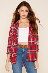Forever 21 Snap Button Tartan Plaid Shirt