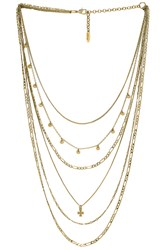 Luv Aj The Hammered Cross Multi Charm Necklace Metallic Gold