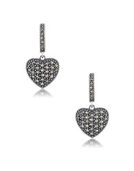Lord And Taylor Sterling Silver Heart Hoop Earrings