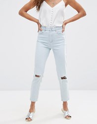 Asos Farleigh High Waist Slim Mom Jeans In Vintage Blue With Rips Vintage Blue