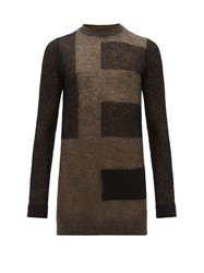 Rick Owens Abstract Stripe Mohair Blend Sweater Black Brown