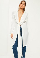 Missguided Tall Exclusive White Hammered Satin Twist Front Longline Shirt