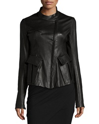Donna Karan Antiqued Stretch Leather Jacket Black