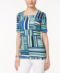 Alfred Dunner Striped Short Sleeve Top Multi