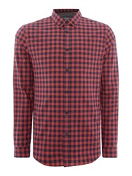 Linea Men's Abbey Large Gingham Shirt Red