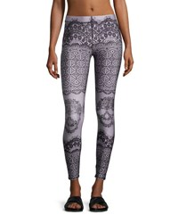 Terez Skull Lace Printed Performance Leggings Black Pink Black Pattern