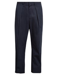 Marni Wide Leg Button Cuff Cotton Cropped Trousers Navy
