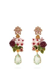 Dolce And Gabbana Floral And Crystal Embellished Drop Earrings Multi