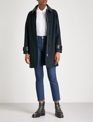 Claudie Pierlot Gauthier Leather Collar Woven Twill Coat Navy