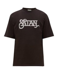 Aries Satan Print Cotton T Shirt Black