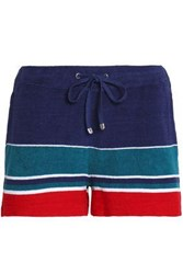 Orlebar Brown Striped Cotton Terry Shorts Navy