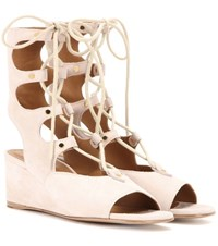 Chloe Foster Suede Gladiator Wedge Sandals White