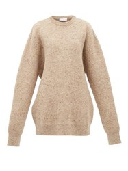 Raey Oversized Marled Wool Blend Sweater Brown