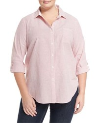 Lafayette 148 New York Striped Button Front Roll Tab Blouse Rouge Mult