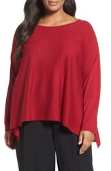 Eileen Fisher Plus Size Women's Fine Gauge Knit Pullover China Red