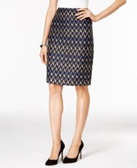 Kasper Tweed Pattern Pencil Skirt Celeste Multi