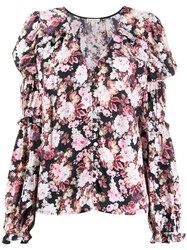 For Love And Lemons Gathered Sleeves Floral Blouse Pink