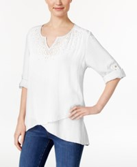 Jm Collection Petite Asymmetrical Crinkle Tunic Only At Macy's Bright White