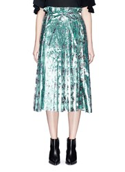 Toga Archives Floral Print Lame Paperbag Waist Pleated Skirt Multi Colour Green