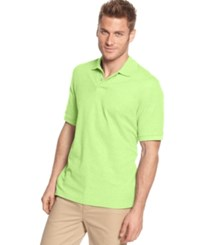 Club Room Short Sleeve Solid Estate Performance Sun Protection Polo Lime Oxide