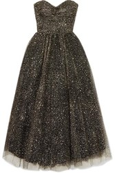 Monique Lhuillier Brie Strapless Ruched Glittered Tulle Gown Black