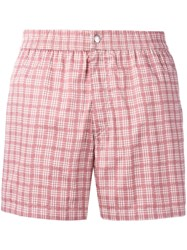 Brioni Checked Swimming Shorts Pink Purple