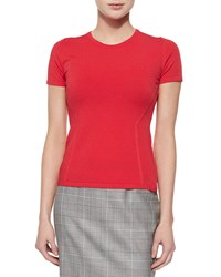 Escada Short Sleeve Fitted Top Tivoli Red Size S