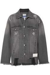 Sjyp Distressed Denim Jacket Gray
