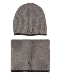 Armani Jeans Grey Aj Logo Scarf And Hat Set