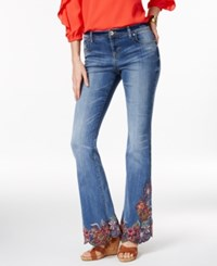 Inc International Concepts Embroidered Indigo Wash Flare Leg Jeans Only At Macy's