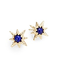 Anzie Aztec Lapis And 14K Yellow Gold Stud Earrings Gold Blue