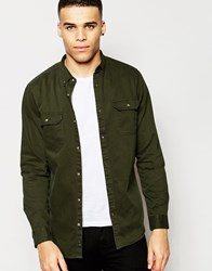 Pull And Bear Pullandbear Twill Shirt In Khaki Black